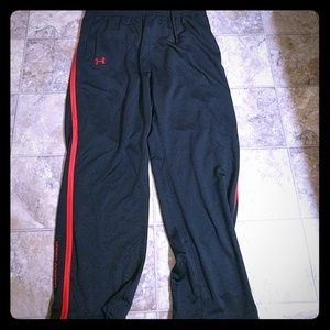 Under Armour Men's XXL Black with Red Stripe Pants